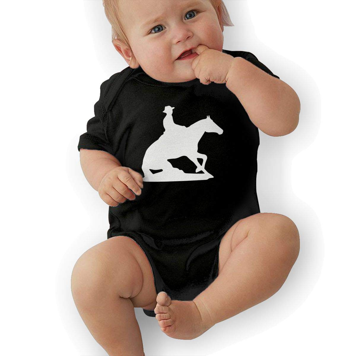 Reining Horse Silhouette Toddler Baby Girl Boy Romper Jumpsuit Short Sleeved Bodysuit Tops Clothes