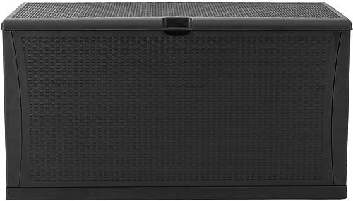 SOLAURA Outdoor Storage Deck Box-120 Gallon Black Wicker Pattern Container Cabinet Garden Patio Furniture