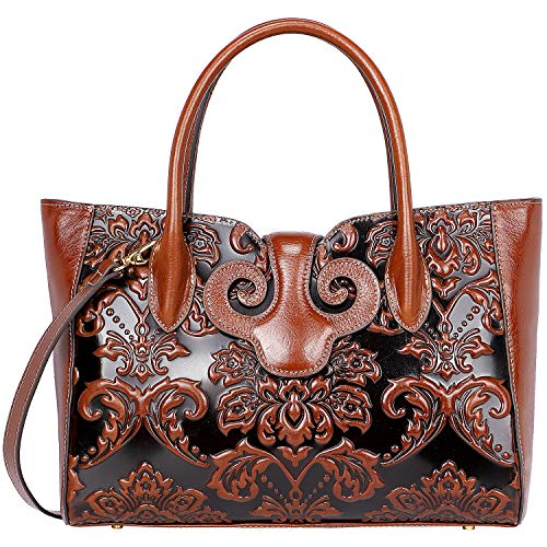 (PIJUSHI Floral Handbags For Women Designer Handbag Top Handle Shoulder Bags For Ladies (91776 Brown))