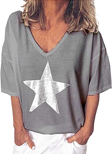New Women Ladies Summer Grey Short Ruffle Sleeve Star Necklace Top Blouse