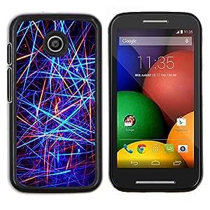 For Motorola Moto E Case , Líneas de neón abstractas- Diseño Patrón Teléfono Caso Cubierta Case Bumper Duro Protección Case Cover Funda