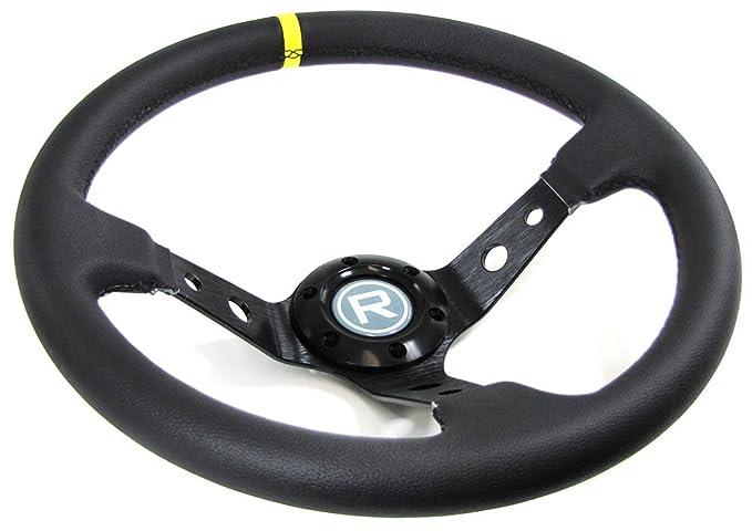 Carparts-Online 29559 350mm Sport Lenkrad gesch/üsselt Echt Leder Alu schwarz Rennsport TYP 2