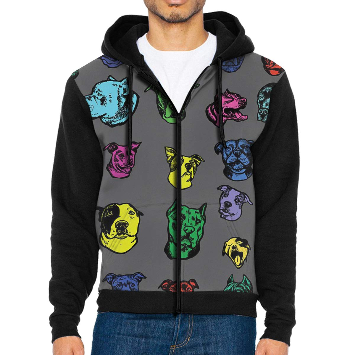 Mens Pullover Hood Pitbull Dog Art Zip Hoodies Hooded Casual Jackets Coats