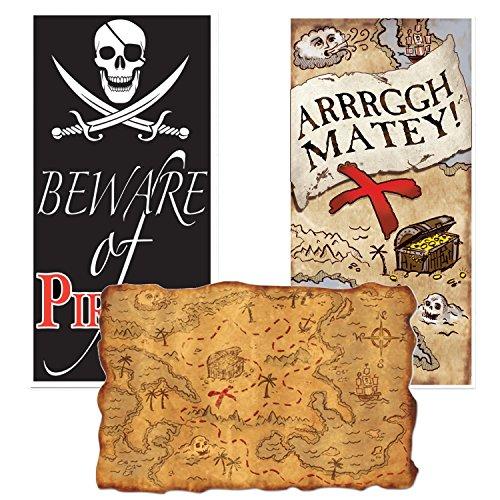 Curated Nirvana Pirate Beware Jolly Roger Door Decorations and Treasure Map Bundle (Pirates Door)