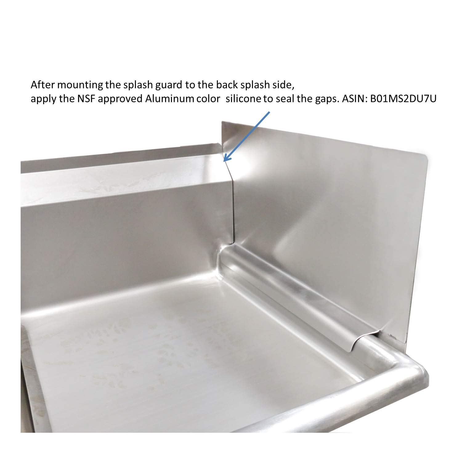 EquipmentBlvd Stainless Steel Reversible & Removable End Splash Guard for 18'' Bowl Size Compartment Sinks (22'' L x 12'' H) by EquipmentBlvd (Image #5)