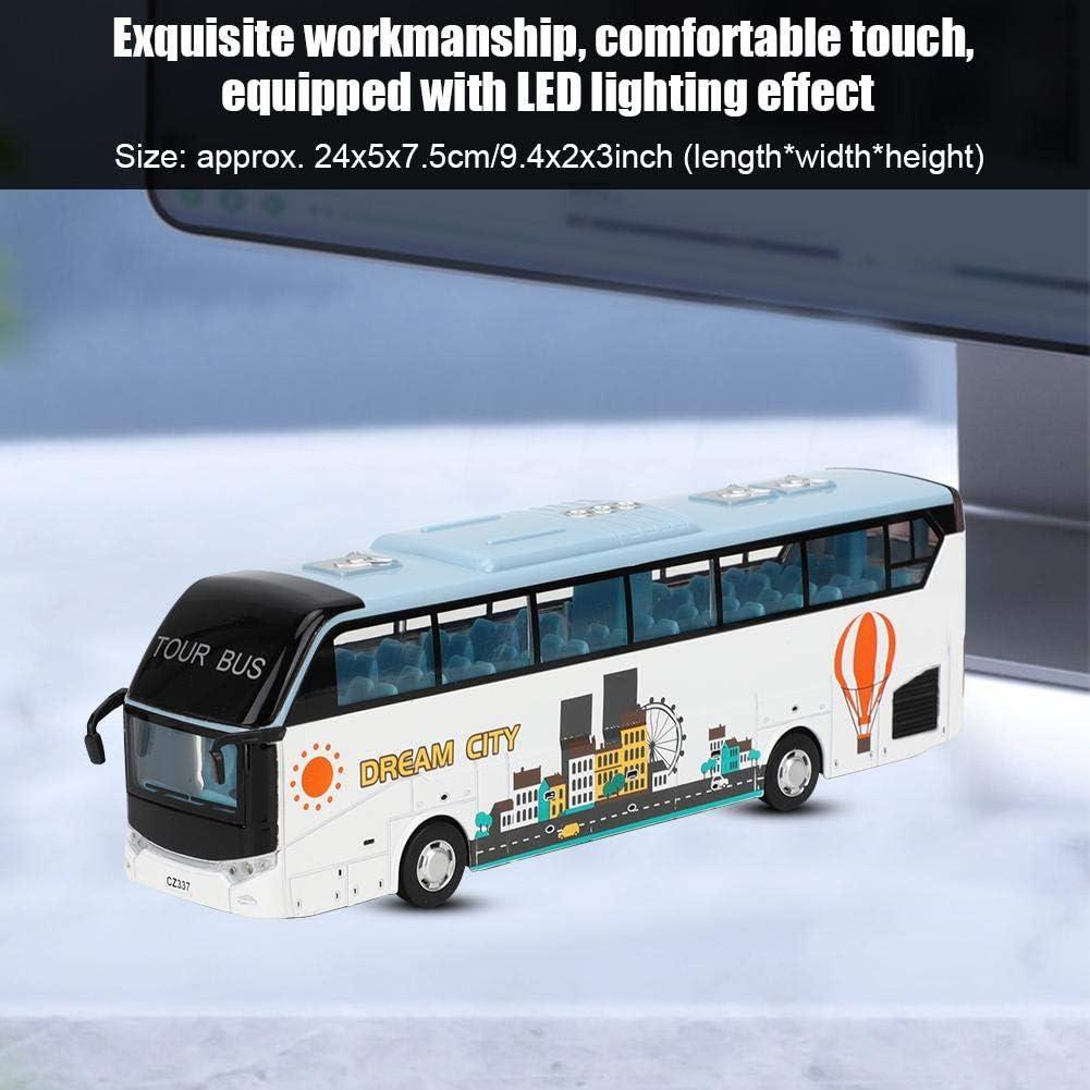 Blanco Tnfeeon Autob/ús de Dos Pisos de aleaci/ón 1:32 Modelo de Juguete de autob/ús tur/ístico Simulaci/ón Tour Bus Juguete con luz ni/ños