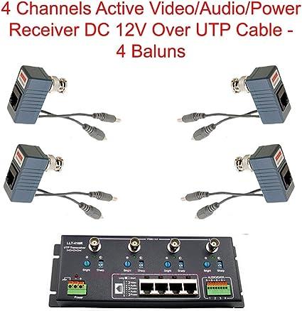 4Ch Active Receiver Transmitter Video Power Audio Balun BNC to UTP CCTV Camera