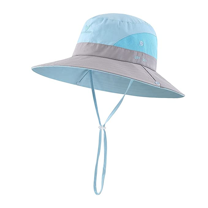 8ed84db1761 LLmoway Toddler Boys Outdoor UV Protection Breathable Boonie Large Brim Sun  Hat Adjustable Cap Aqua
