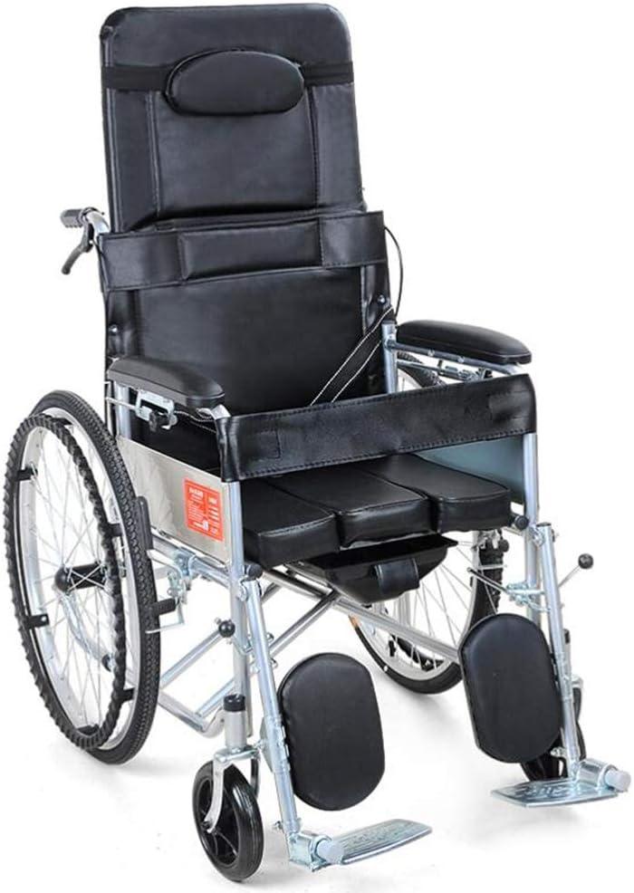 折ります ポータブル 車椅子の移動性、 厚肉鋼管 軽い 車いす と トイレ 滑り止めハンドブレーキと 無効 老人 便座 車いす