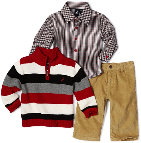 Nautica Sportswear Kids Baby Boys' 3 Piece Sweater Set