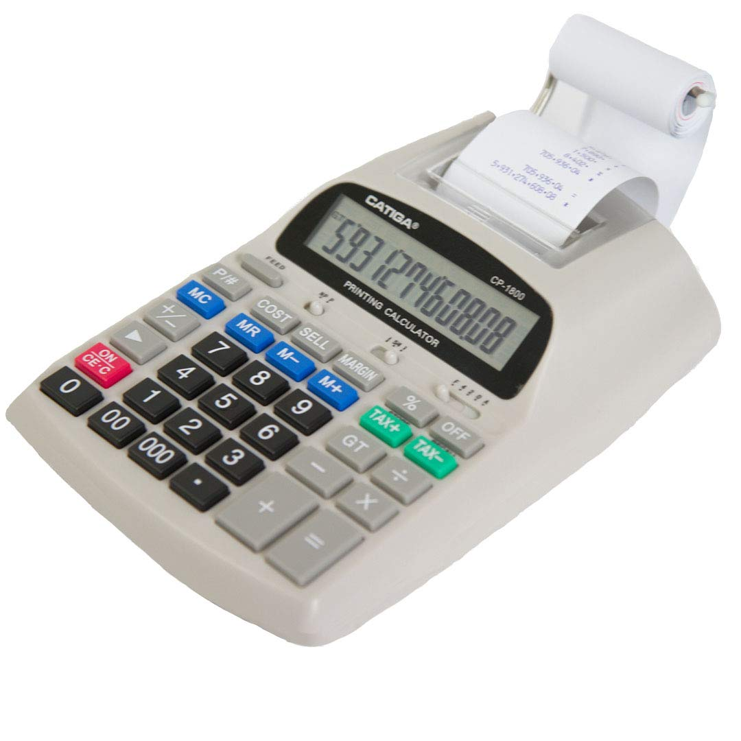 Catiga 12-Digit Desktop Commercial Printing Calculator - Two Color - 2.03 Lines/sec - CP-1800 (White)