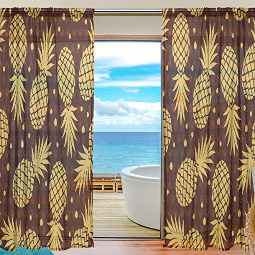 ALAZA Vintage Pineapple Sheer Curtain Faux Voile Fabric drap