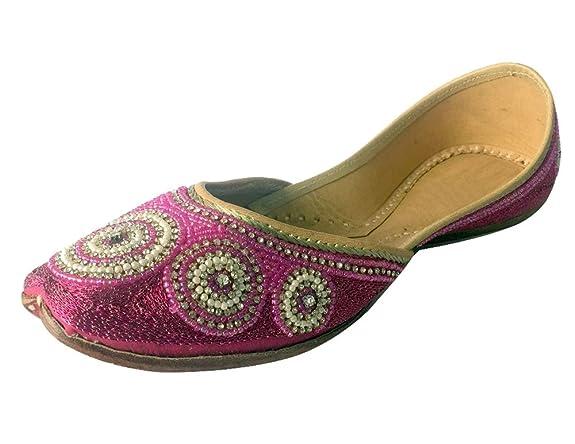 Schritt N Style Frauen Flach Khussa Schuhe Panjabi Jutti Offen die Traditionellen Mojari Ballerina Pumpen, Schwarz - Schwarz - Größe: 35