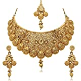 Reeva Gold Plated Zinc Traditional Necklace Sets For Women (Golden)