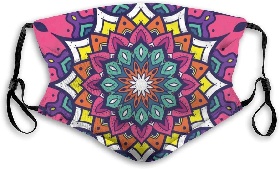 Adorno Mandala, Mandala Floral Anti Polvo Polución Mascarilla para boca al aire libre con filtro de carbono reemplazable Auriculares ajustables, Protección Máscaras faciales a prueba de viento cálido