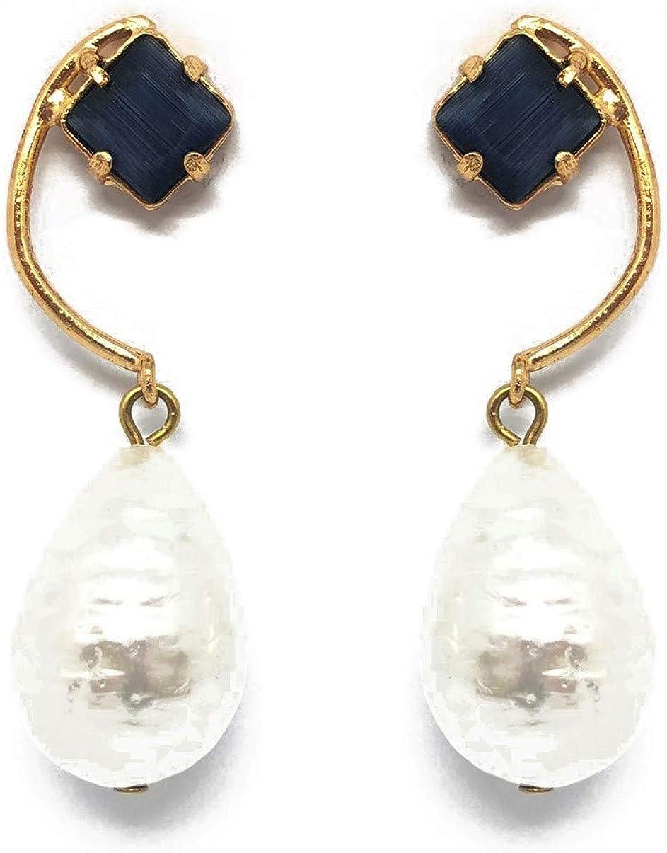 FENOMENO - Pendientes chapados en oro con colgante de perlas de gota con piedras duras semipreciosas
