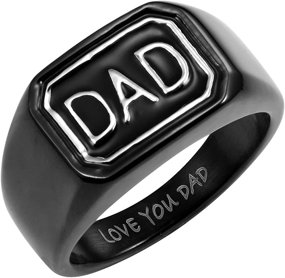 Willis Judd Men`s Black Stainless Steel DAD Ring Engraved Love You Dad