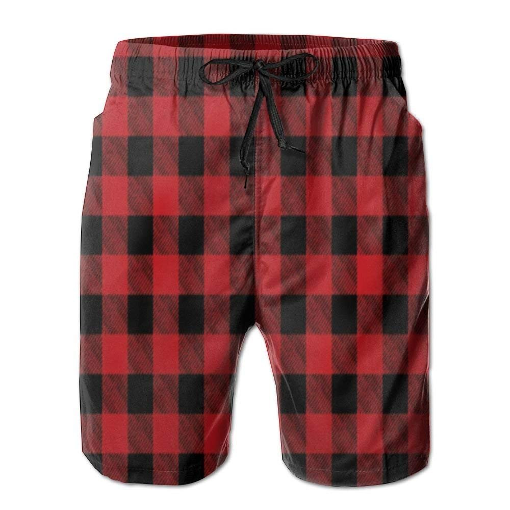 SINOVAL Mens Beach Shorts Swim Trunks Buffalo Plaid Red Checkered Board Shorts with Pockets
