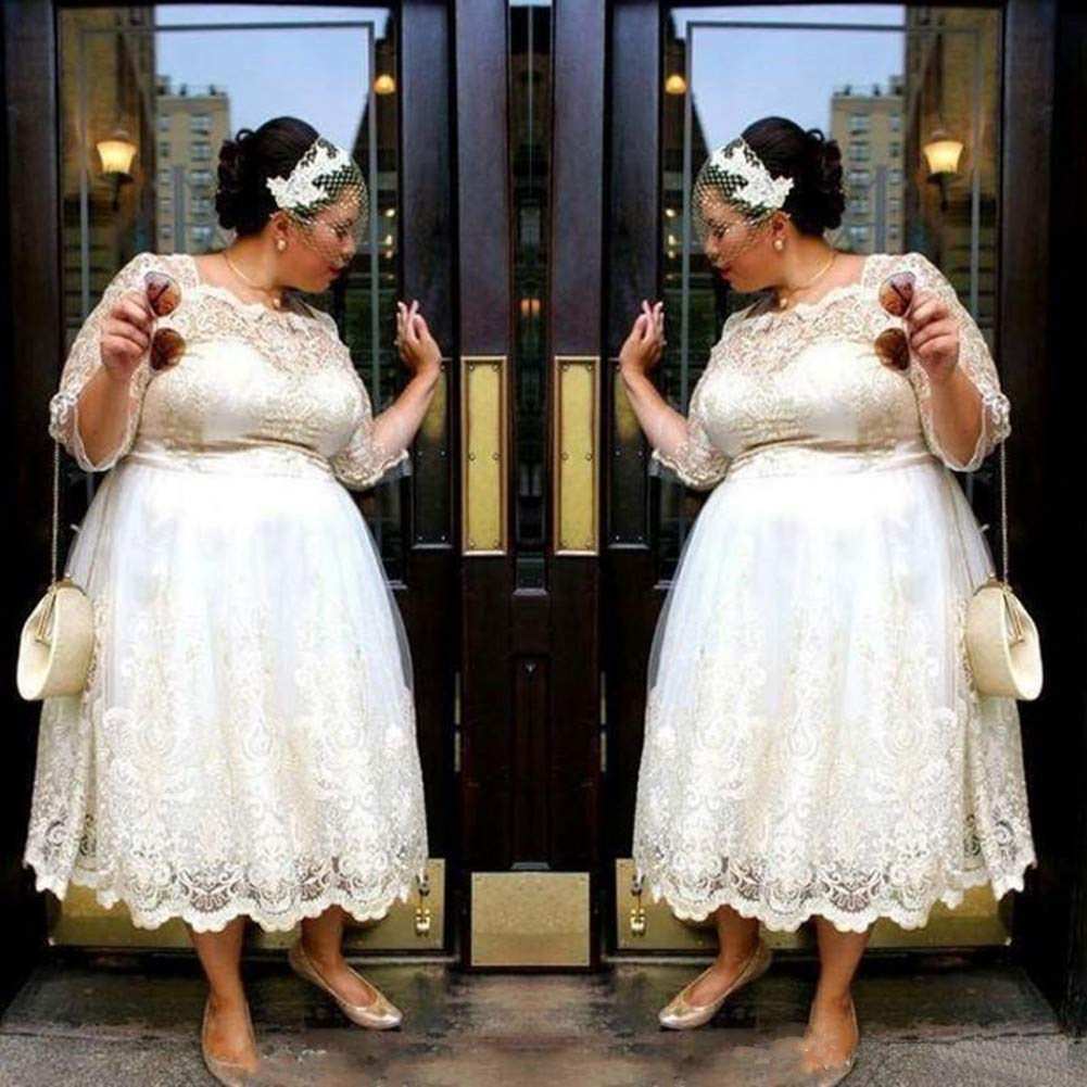 d097b31ac18 Tsbridal Women Wedding Dresses Plus Size Tea Length Lace Country Style Bridal  Gowns at Amazon Women s Clothing store