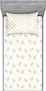 Ambesonne Beige Fitted Sheet & Pillow Sham Set, Teddy Bear Monochrome Illustration Toys Stars and Dots Halftone Background, Decorative Printed 2 Piece Bedding Decor Set, Twin, Cream