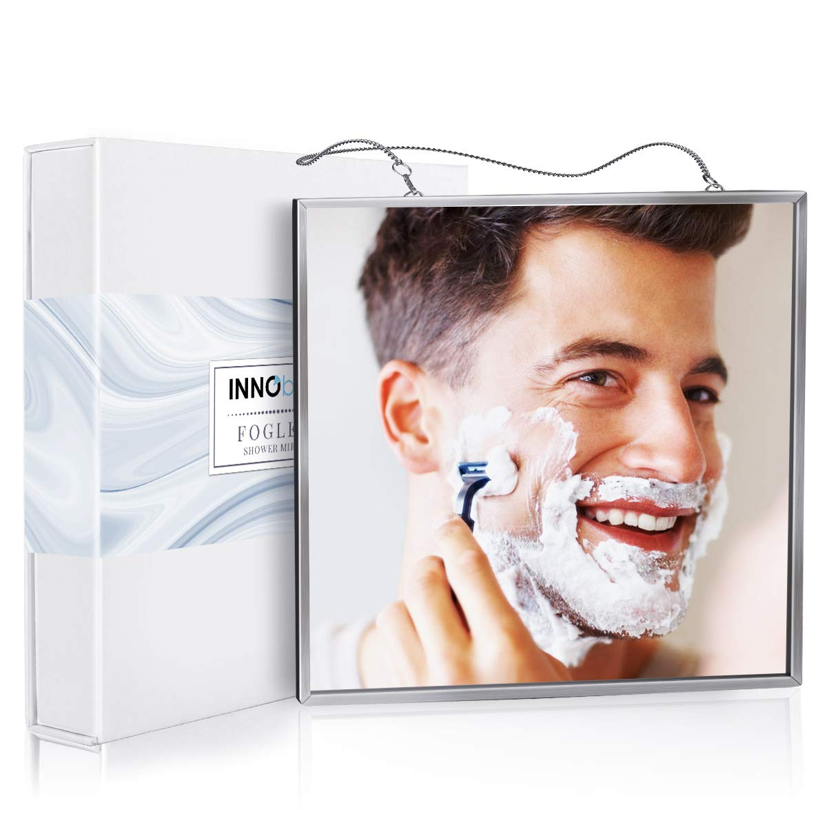 INNObeta Fogless Shower Mirror for Shaving /& Facial Cleansing 17cm x 17cm Stainless Steel Frame Easy to Use 2 Chains included Anti-fog Shower Mirror with larger size Shatterproof Glass