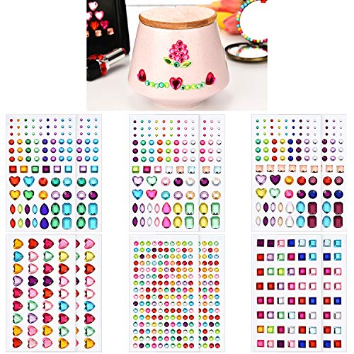 Poen 12 Sheets Jewel Stickers Self-Adhesive Rhinestone Sticker Acrylic Crystal Gem Stickers for Nail Painting Crafts Making, Multi-Colored