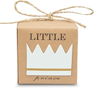 30pcs Little Prince Baby Shower Favor Boxes with Burlap Twine for 1rst Birthday Boy Decoration Rustic Craft Paper Candy Box Party Favor Supplies
