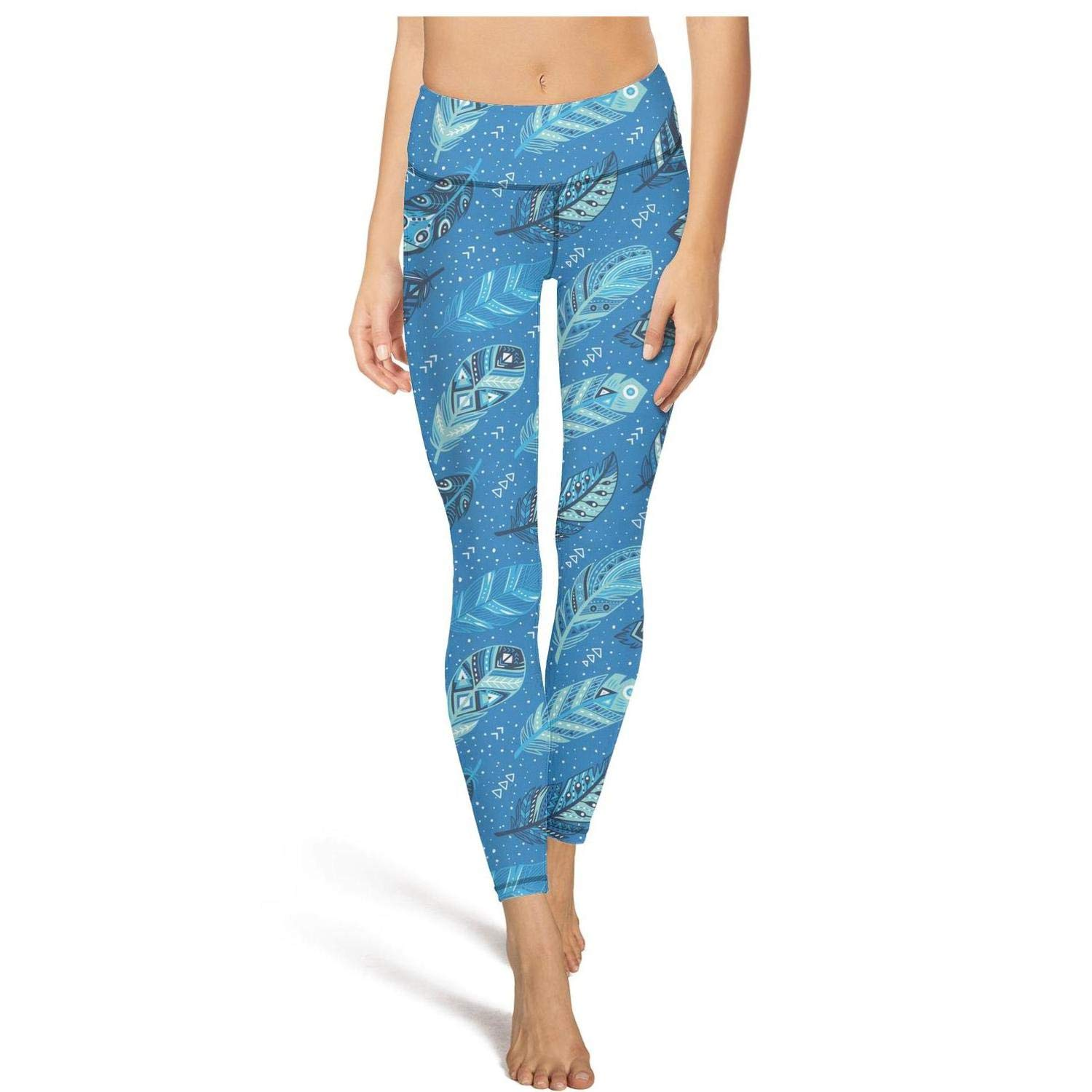 AugGThomas Womens Tribal Blue Feathers Workout Running Legging Tummy Control Stretch Yoga Pants with Pockets