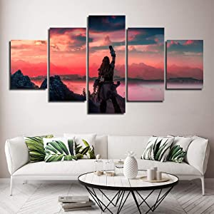Wall Decor 5 Panels Abstract Art on Canvas Painting Horizon Zero Dawn Wall Art Picture Print Modern Home Decor Ready to Hang-8x14/18/22inch,Without Frame