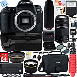 Canon EOS 77D Digital SLR Camera + EF 75-300mm F4-5.6 III Telephoto Zoom Lens Tascam 64GB Video Creator Kit