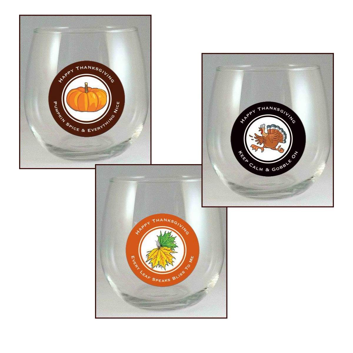 Leaf 9 Decals//pack Glass Tag Identifiers Thanksgiving Wine Glass Decals and Pumpkin Decal Glass Markers For Thanksgiving Dinner Turkey