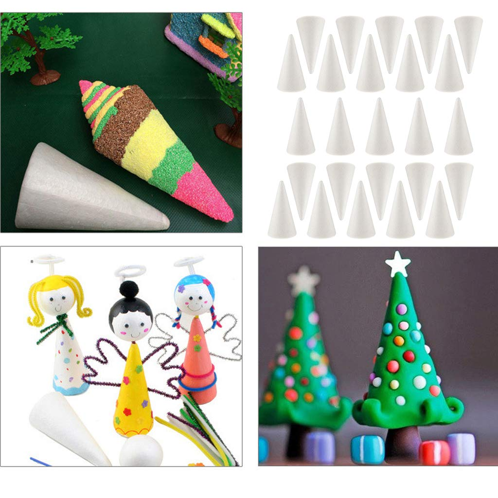 Home 10x5.5cm 20-Pack Polystyrene Cone Styrofoam Foam White Blank Cone Shapes for Modeling Craft DIY Wedding Events Decorations Christmas