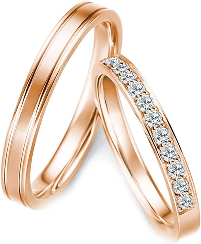 Epinki Anillo Oro Rosa 18k Línea Diamante 0.28ct Anillo de Compromiso de Pareja de Boda