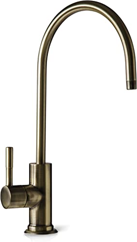 iSpring GA1-AB Lead-Free Reverse Osmosis, Kitchen Bar Sink RO Drinking Water Faucet, Contemporary Style, High Spout, Antique Brass