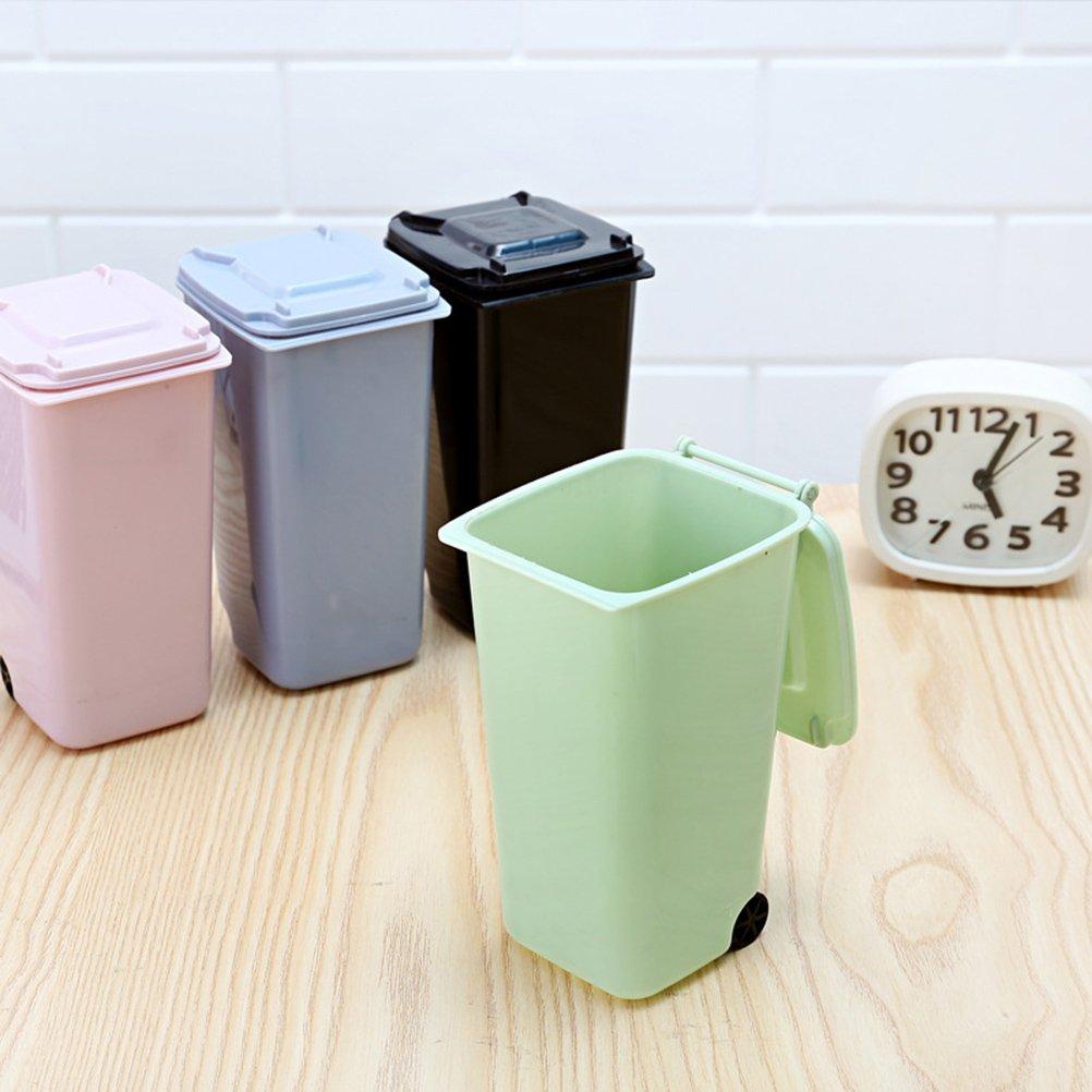 scrivania secchio della spazzatura coperchio Bin archiviazione Pen Pencil Porta bicchiere suministros di ufficio stobok 4/cestino mini set