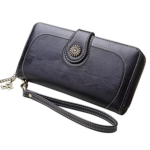 09cf47427b28e1 LisYOU Wallet for Women Minimalist Slim Zipper Buckle Oil Wax Multi-card  Slot Long Handbag