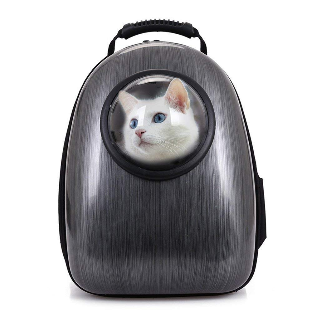 Black Waterproof Pet Space Capsule Backpack, Dogs Backpack Puppy Cat Rucksack Pet Travel Carrier Soft Side Pet Carrier Bag Breathable, for Going Out or Travelling Packet,Black