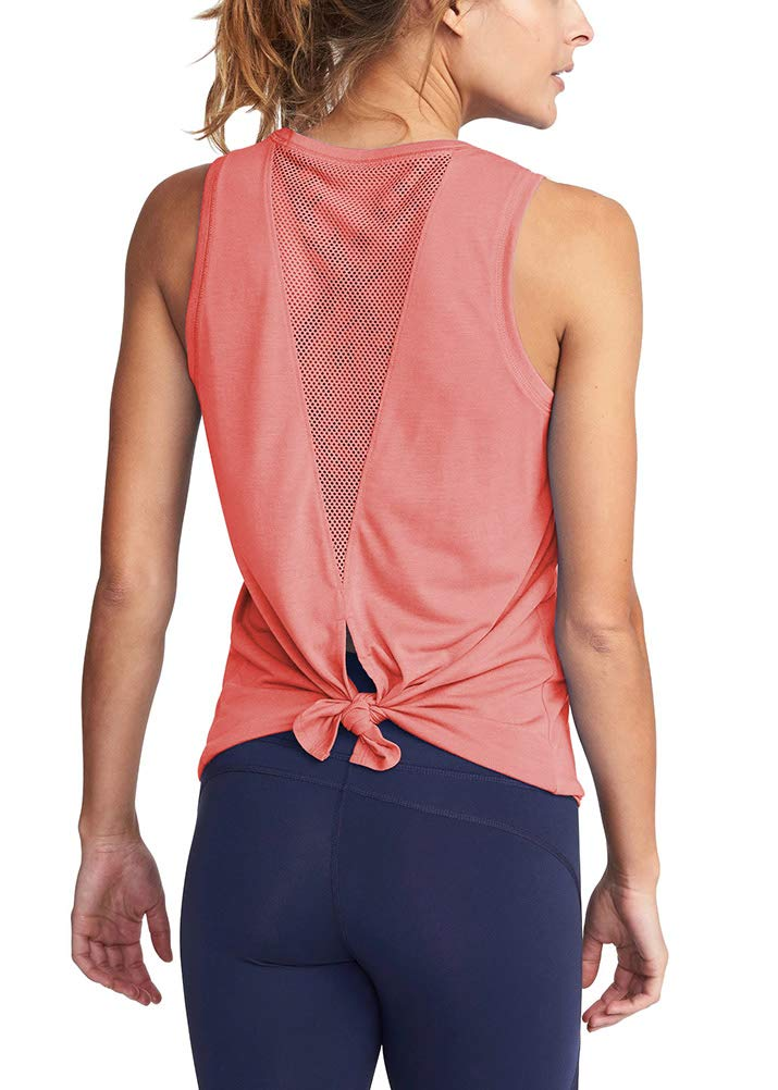 Mippo Women's Activewear Open Back Workout Tops Backless Yoga Shirts Cool Fitness Muscle Tank Workout Tanks Stretchy Sports Gym Cute Running Tank Tops with Mesh Peach Red XS by Mippo