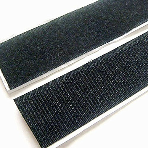 Strenco 1' Self Adhesive Black Hook and Loop 5 yards Sticky Back Tape Fabric Fastener 15 feet