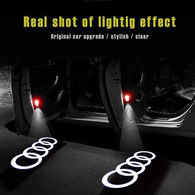 Luz de bienvenida de la puerta del coche 4pcs s/ímbolo del logotipo de las luces del proyector fantasma Cortes/ía de la l/ámpara luz de la sombra de Peugeot RCZ 508 408 1007 307 407 5008 607 806