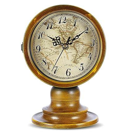GJH Reloj De Mesa De Doble Cara, Estilo Europeo Arte De Hierro Mundo Duradero Mapa
