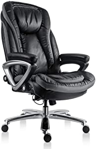 SMUGDESK High Back Executive Thick Padding Headrest and Armrest Home Office Chair with Tilt Function, Black, Large