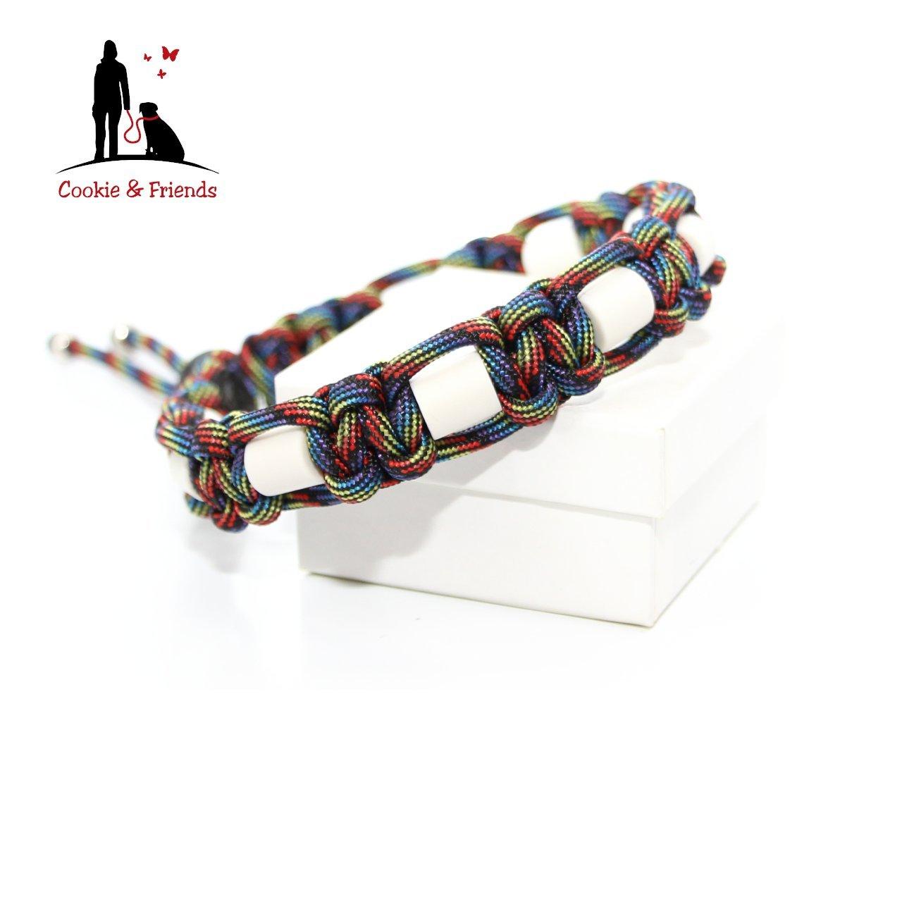 EM-Keramik Halsband, EM Keramik, Halsband EM Keramik, Hund, Hundehalsband, EM Keramik Farbe: Dark Rainbow