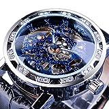 Winner Black Golden Retro Mechanical Watch Luminous Hands Fashion Diamond Display Skeleton Mens Wrist Watches