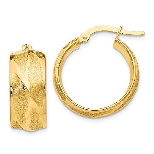 14kt Yellow Gold Polished//Textured Post Hoop Earring