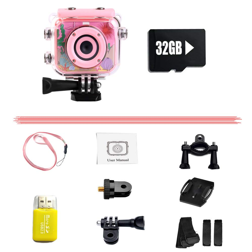 denicer Waterproof Children's Camera with 2.0 Inch LCD Display 12MP HD Kids Underwater Camera Camcorder with 32G SD Card for 4-12 Girls Festive/Birthday Gift-Pink by denicer (Image #5)