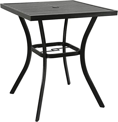 Ulax Furniture 31'' x 31'' Outdoor Bar Table Patio Metal Bar Bistro Table
