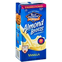 Blue Diamond Growers Unsweetened Vanilla Almond Breeze, 32 Ounce -- 12 per case.