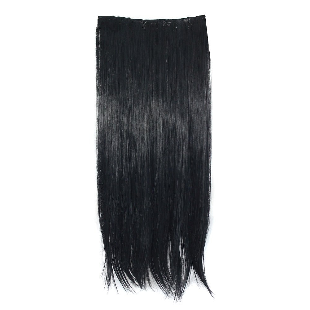 MapofBeauty 60cm/24 pulgada largo lacio seorita pedazo de cabello (negro): Amazon.es: Belleza