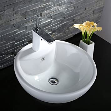 Decoraport White Round Ceramic Bathroom Kitchen Vessel Sink